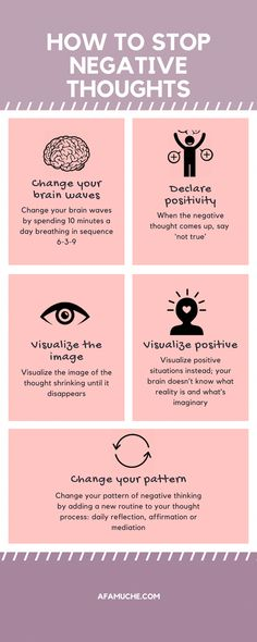 How To Stop Negative Thoughts Infographic positive growth infographic growth mindset positive tips for growth personal development self-improvement development Positive Mindset, Positive Attitude, Positive Affirmations, Think Positive Thoughts, Happy Thoughts, Negative Thoughts Quotes, Negative People Quotes, Postive Thoughts, Positive Mental Health