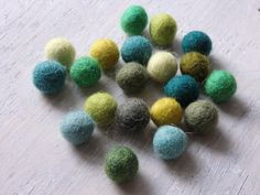 NEW Nepalese handmade wool felt pom poms  GREEN mix by TintinBeads