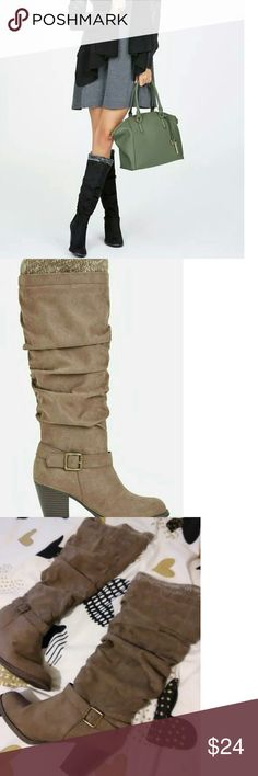 Justfab Sweater Top Slouch Boots Taupe suede sweater top heeled boots in EUC. JustFab Shoes Heeled Boots