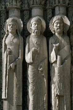 """Relief Sculpture on Royal Portal, Chartres Cathedral. """"Kings were included among saints on cathedrals, and the term royal portal was used to describe those doorways with sculptures of royal personages"""" (History of Interior Design Jeanie Ireland)."""