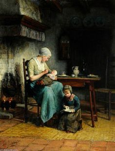 Mother And Child by Filippo Palizzi (1818-1899, Italy)