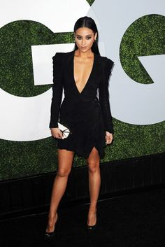 Shay Mitchell wows in a low-cut Balmain dress at the 2014 GQ Men of the Year Party