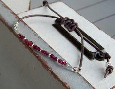 Simple red Garnet adjustable leather stack bracelet