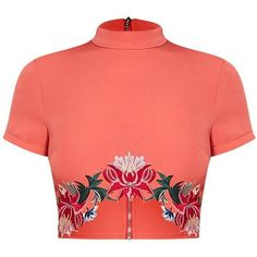 Charis Coral Floral Embroidered Crop Top (55 BRL) ❤ liked on Polyvore featuring tops, shirts, t-shirts, red crop top, high neck crop top, shirt top, red top and coral shirt