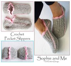 RIBBED SLIPPER POCKET SOCKS - INSTANT DOWNLOAD PDF  **This listing is for a CROCHET PATTERN. You are not buying a finished product!** THE PATTERN IS AVAILABLE IN ENGLISH and GERMAN: Chose language after purchase. This must be the most simple method to create a pair of slippers! One-piece, seamed in sides.  A great last minute gift, perfect hostess-gift! Easy to bring with you in the purse, visiting family and friends.  For a neat and snug fit, the crochet fabric is flexible and stretchy…