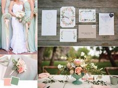 There's nothing more light and feminine than a peach and sage palette. This wedding color palette screams springtime outdoor wedding!