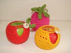 filihunkat: Hæklede frugtposer / apple cozies