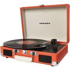 Crosley – Tourne-disque à 3 vitesses portable Cruiser CR8005A-GR, orange
