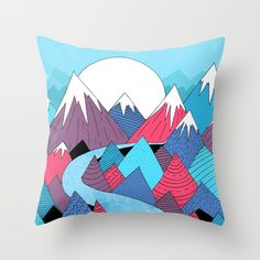 Check out society6curated.com for more! @society6 #illustration #home #decor #homedecor #interior #design #interiordesign #buy #shop #shopping #sale #apartment #apartmentgoals #sophomore #year #house #fun #cool #unique #gift #giftidea #idea #pillows #drawing #blue #white #red #purple #mountains