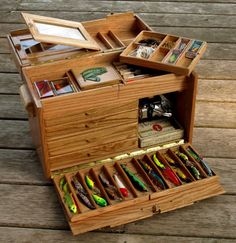 Tackle Box Solid Oak with Recycled Skateboards by SecondShot