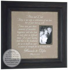Great Thank You Gift for Mom and Dad, Wedding Gift, Personalized Picture Frame