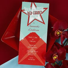 Red Carpet Party  This tea length invitation features red carpet stars with your party information shown as the main attraction.