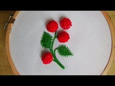 Hello! Today we are making Pom Pom Stitch. I make leaf with fly stitch and I used regular embroidery thread. Don't forget to like, share and subscribe!