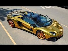 a gold lamborghini Most Expensive Lamborghini, Lamborghini Aventador Roadster, Luxury Car Brands, Best Luxury Cars, Gold Lamborghini Wallpaper, Lamborghini Pictures, Toy Cars For Kids, Street Racing Cars, Luxury Sports Cars