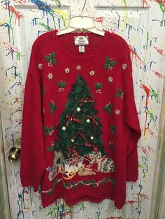 Vintage christmas sweaters  uguly crazy and by RagsAGoGo on Etsy