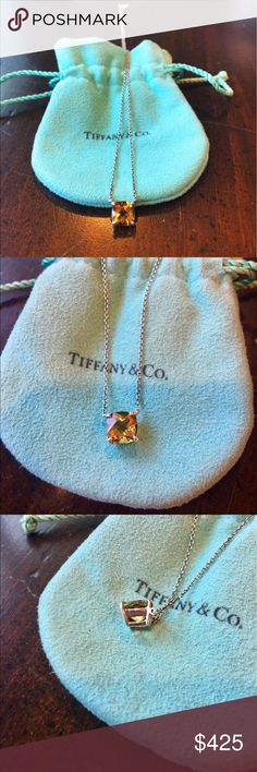 Tiffany & Co. citrine pendant Dazzling sterling silver 1.5 carat citrine pendant- November's birthstone and overall amazing every day piece! In great condition, includes Tiffany's pouch as shown. Will have the piece professionally cleaned as requested. Best price online for this rare piece! Tiffany & Co. Jewelry Necklaces