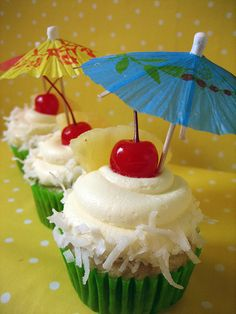 Pina Colada Cupcakes, would be a cute idea to incorporate the beach wedding theme at the reception :-)