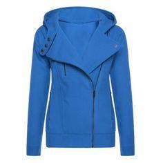 $19.99 Trendy Hooded Long Sleeve Pure Color Women's Zip Up Hoodie