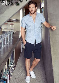 2a07939452 Marry a grey polka dot short sleeve shirt with deep blue shorts for an easy  to
