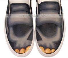skulls custom canvas #shoes Slip-on Painted Canvas Shoes,Slip-on Painted Canvas Shoes