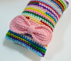 Nicely Created For You: Colorful Crocheted Pincushion with Bow 5 x 3 inches