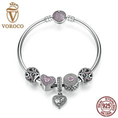 VOROCO Original 925 Sterling Silver Heart Bangles & Bracelets Mom Pendant,Pink Sweetheart Charms Compatible With VRC SB002