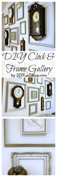 DIY CLOCK AND FRAME GALLERY   Check out all the fun DIYs at DIYFunIdeas.com