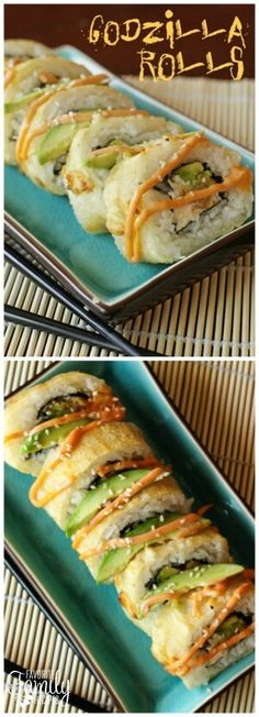 If you are intimidated by homemade sushi, Godzilla Rolls are a GREAT place to start. These shrimp, avocado, and cream cheese rolls are super easy to make at home via @favfamilyrecipz