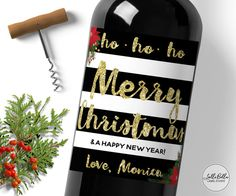 Merry Christmas Wine Label Kate Spade Inspired by LolliBella