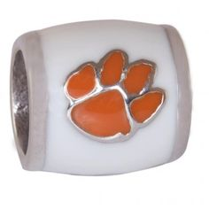"""Teagan Collegiate Collection Bead: Clemson University Orange Paw on White  925 Silver & Enamel.  This is a """"Teagan"""" bead and it is compatible with Pandora, Biagi, Zable, Brighton, Troll and many other European style bracelets."""