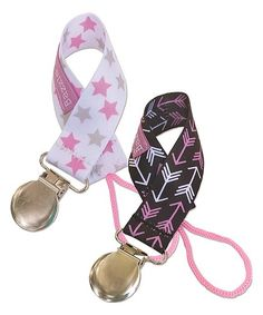 Bazzle Baby Pink Star & Arrow 2-Pack Pacifier Clip | zulily
