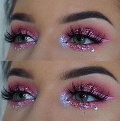 Rosa Glitter Make-up Lidschatten The post Rosa Glitter Make-up Lidschatten appeared first on makeup. Glitter Face Makeup, Pink Eye Makeup, Beauty Makeup, Glitter Eyeshadow, Halloween Makeup Glitter, Glitter Liner, Eyeshadow Palette, Eyeliner Liquid, Pink Eyeliner