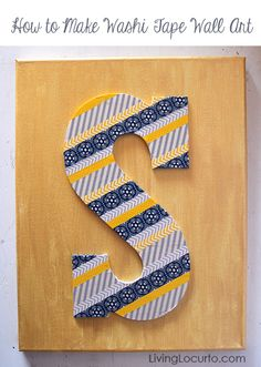 How to make Washi Tape Wall Art. Simple & easy home decor craft idea. LivingLocurto.com #craft #RAOKDIY