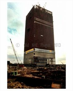 Twin Towers under construction Downtown Manhattan 1969 NYC