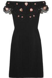 Liz Taylor embellished guipure lace-trimmed stretch-crepe dress
