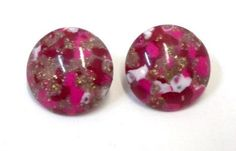 Round Pink Red Fuchsia Confetti Earrings Metallic Lucite Confetti Earrings Thermoset Earrings Beach Jewelry Summer Jewelry DD 1172 by donDiLights on Etsy