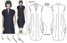 Modèle de robe look Design pour femmes en tailles 8, 10 et 12. Modèle de PDF pour téléchargement immédiat. Consultez le tableau des tailles dans la