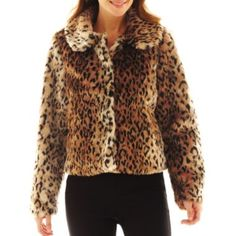efa3a9fa8c Excelled Leather Short Faux-Fur Jacket found at  JCPenney Leopard Shorts