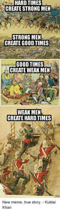 Bildresultat för hard times create strong people. strong people create good times. good times create weak people. weak people create hard times. SVARA