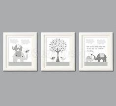 Grey elephant Nursery Art Print Set, 8x10, Kids Room Decor - Elephant family, love birds, love tree,  Pottery Barn Taylor Nursery Bedding. $39.95, via Etsy.