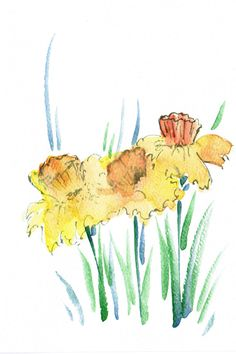 Handpainted Greeting Card Yellow Daffodils by HandmadeExclusives
