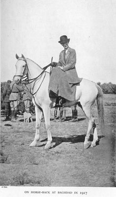 Gertrude Bell on horseback, Baghdad, 1917. Bell was a Mid-East adventuress, and formidable personality in colonial Britain. A contemporary of Lawrence of Arabia, Bell's influence on Mid-East politics made her the most powerful woman in the British Empire in the years after World War I
