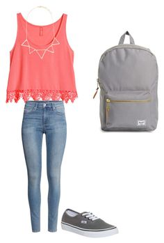 """Untitled #151"" by crazyperson456 ❤ liked on Polyvore featuring H&M, Forever 21, Vans and Herschel Supply Co."