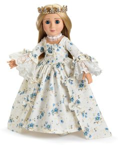 Marie Antoinette ~ Dress and Shoes   Marie Antoinette period dress made in blue floral print cotton satin, with lace ruffles and decorative bows.  Comes with matching shoes.  Historical doll costume to collect or to play with.