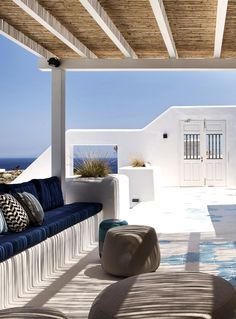 Boutique Hotel Lyo Mykonos designed by studio a. Style At Home, Mykonos, Greece Architecture, Adobe, Terrace Garden, Villa, Hotels, Decoration, Boutique