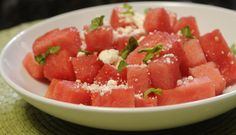Watermelon Feta Salad: Deliciously simple with only 3 ingredients. #watermelon #client