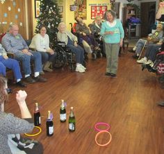 """Adult Day Clubs """"Ring"""" in the New Year Love this idea of ring toss with champagne bottles for Memory Care."""