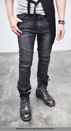 Bottoms :: Jeans :: 4sz) Washed Black Designer Skinny Biker-Jeans 84 - Mens Fashion Clothing For An Attractive Guy Look