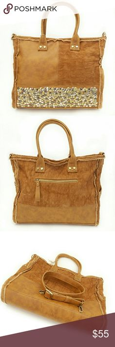 """Pebbled Stud Handbag Frayed trim tote in a rustic cognac denim/faux leather panel design. Top zipper entry/zipper pull front pocket/stud detailed side pockets. Eyecatching multi color pebbled stud front accent. Goldtone hardware. Detachable/adjustable shoulder strap. Rolled handles with 7"""" drop. Fabric interior with one zipper/two slip pockets. Roomy!  Dimensions: Width: 15""""   Height: 12""""   Depth: 5""""  NO Trade / NO Paypal Antik Kraft Bags Totes"""
