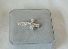 Rhinestone Sideways Cross  Choose your Band by rosepetalsjewelry, $18.00